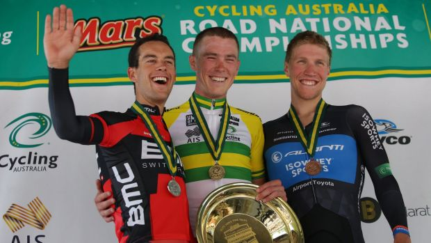 All smiles on the podium: Rohan Dennis (middle) with Richie Porte (left) and Sean Lake.