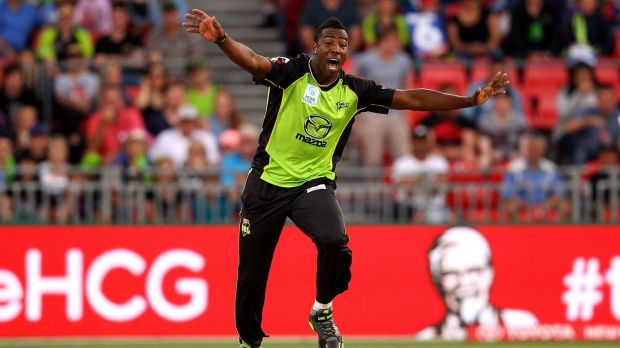 All-round star: Andre Russell celebrates a wicket for the Sydney Thunder.