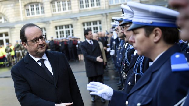 French President Francois Hollande at the Paris police headquarters in January.