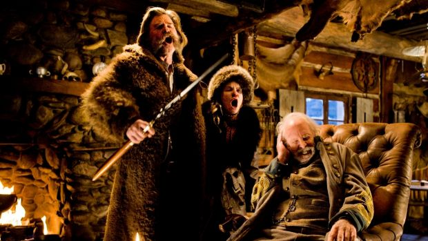 Kurt Russell, from left, Jennifer Jason Leigh, and Bruce Dern in <i>The Hateful Eight</i>.