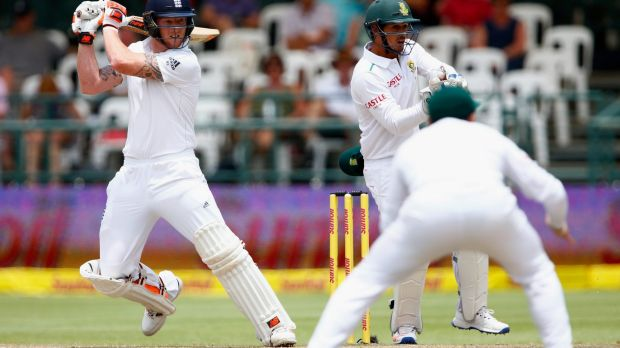 Room for improvement: Ben Stokes of England hits out in Cape Town.