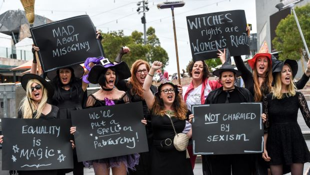 The 'witches' took their protest to Federation Square.
