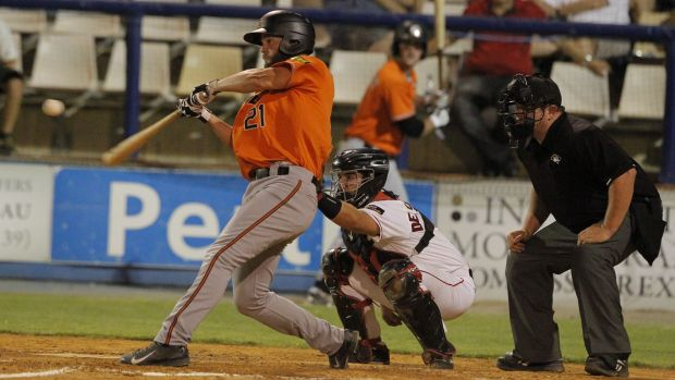 Canberra Cavalry catcher Ryan Miller hit two home runs against the Perth Heat, but the Cavs still lost.