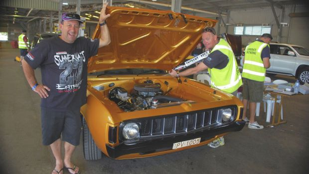 Paul Vezinias with his 1975 VJ Valiant Charger, and Colin Statton, a volunteer scrutineer and member of the ACT Street ...