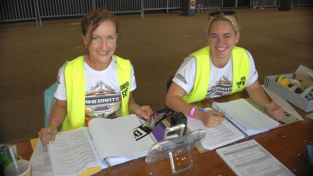 Summernats scrutineering team members Rhiannon Sharp and Olivia Fripp from Wollongong worked hard to process the 2000 ...