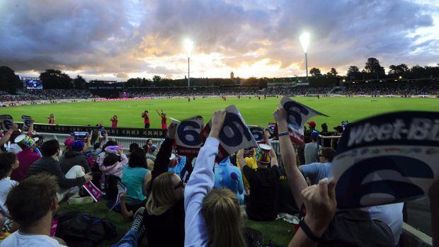 Sellout: The crowd at Manuka for the Big Bash game between Sydney Sixers and Perth Scorchers.