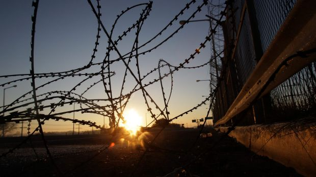 A barbed-wire fence at the Imjingak, near the demilitarised zone separating South and North Korea.