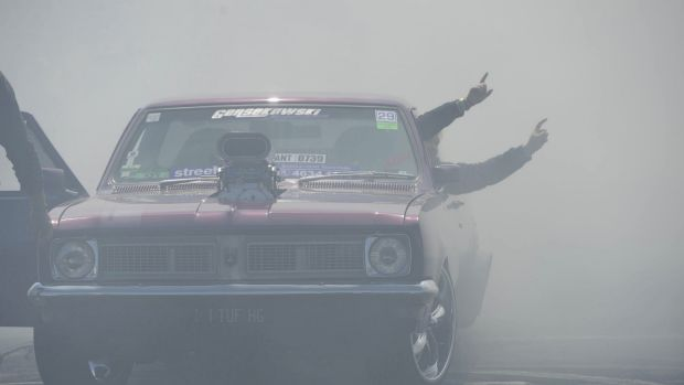 Summernats day two. Wannabe burnout masters raised hell at the eliminations on Friday. This Holden was a crowd pleaser.