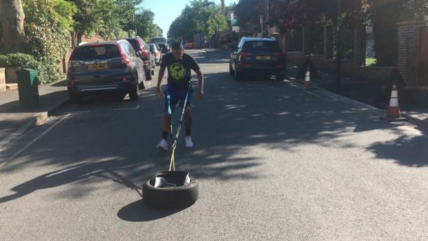 Kyrgios has been using tyres to mix up his training regime.