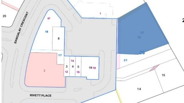 The block at the Rivett shops on which developers plan to build a child care centre, highlighted in pink, as well as the ...