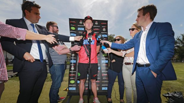 Melbourne Renegades captain Cameron White speaks to the media on Friday.