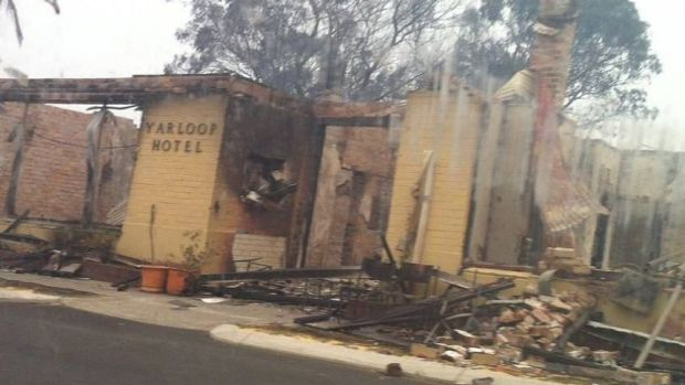 The Yarloop Hotel lies in ruins - as does much of the small WA town.