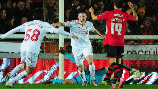 Brad Smith celebrates after scoring Liverpool's late equaliser.