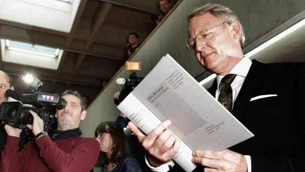 Head of the editing team Christian Hartmann with a copy of the new critical edition of Mein Kampf at the Institut fuer ...