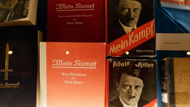 Historic copies of Adolf Hitler's Mein Kampf are displayed during the book launch of a new critical edition at the ...