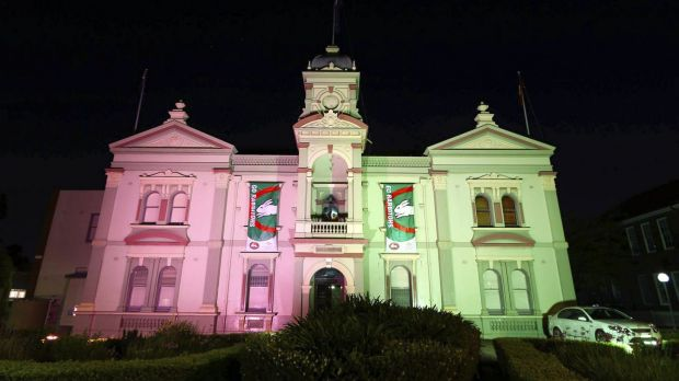 Randwick Town Hall lit up for the Rabbitohs.