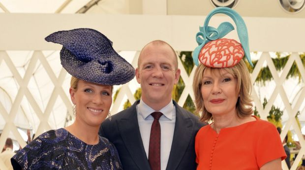 Zara Phillips and Mike Tindall with Magic Millions owner and host Katie Page-Harvey.