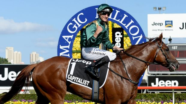 Class above: Blake Shinn returns to scale aboard Capitalist after winning the Magic Millions Classic on the Gold Coast.