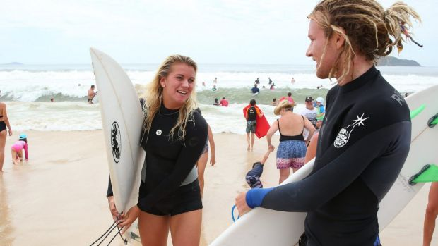 Professional Life Guard Ashleigh Searle (left) rescued the two swimming from the surf.