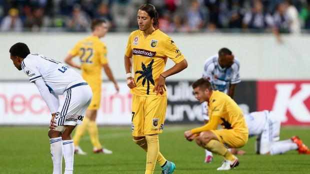Stalemate: Francesco Stella reacts after the Mariners' draw with the Melbourne Victory at Simonds Stadium in Geelong.