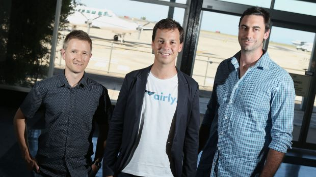 Airly co-founders, from left, Ivan Vysotskiy, Alexander Robinson and Luke Hampshire, are seeking funding for the private ...