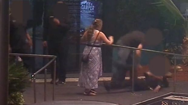 CCTV footage has captured an alleged one-punch attack on a Mount Isa mother outside a pub.