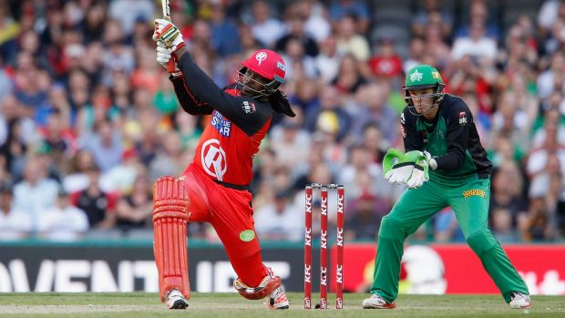 Big Bash: Chris Gayle of the Melbourne Renegades hits Adam Zampa of the Melbourne Stars for six last week.