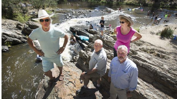Locals Jeremy Loftus-Hill (left), Warwick Leeson and Jill Dixon, with Yarra riverkeeper Andrew Kelly, are among those ...