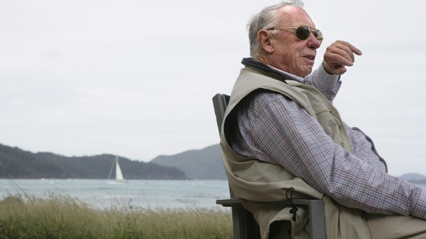 Hamilton Island owner Bob Oatley overlooking the island's main beach.