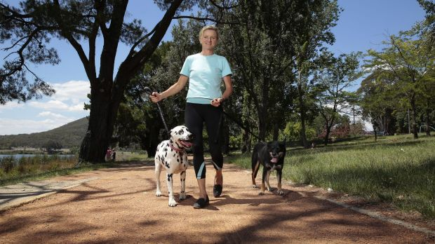 TAMS City Services director Fleur Flanery Maggie the dalmatian and Lucy the kelpie at Weston Park.