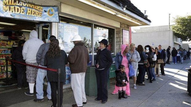 Customers wait in line to buy Powerball lottery tickets in Hawthorne, California.