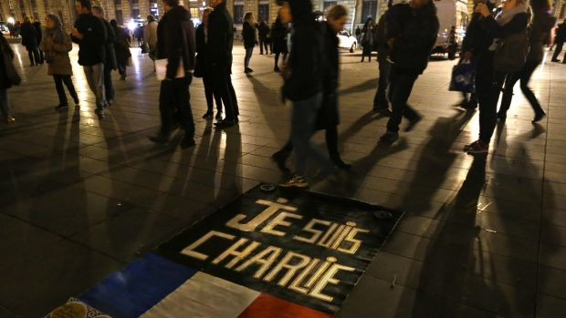 "A banner reading ""Je suis Charlie"" on the Place de la Republique in Paris last night."