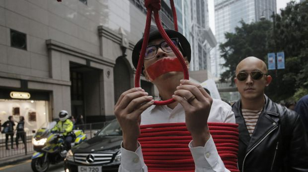 One of the many protests in Hong Kong, highlighting the region's concern regarding the disappearance of five ...