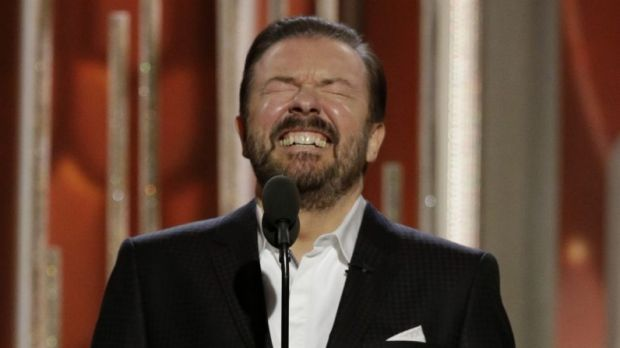 Host Ricky Gervais appears at the 73rd Annual Golden Globe Awards.