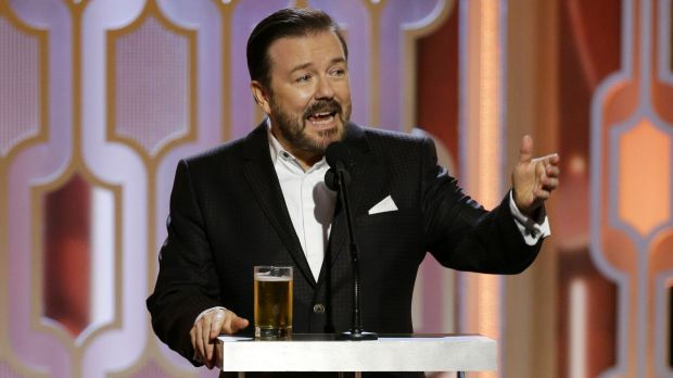 Host Ricky Gervais speaks at the 73rd Annual Golden Globe Awards at the Beverly Hilton Hotel in Beverly Hills, Calif., ...