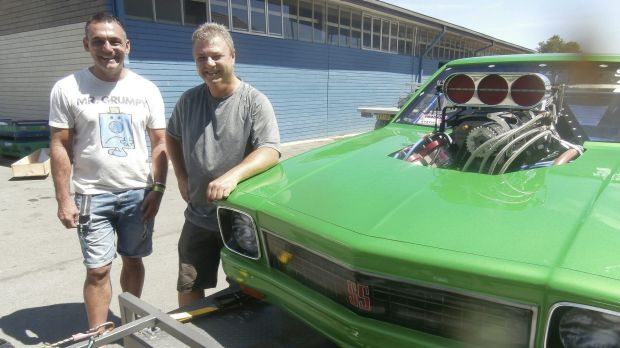 The morning after: Andy Lopez, Summernats co-owner, left, says good bye to Canberra's Brad Sullivan who brought his ...