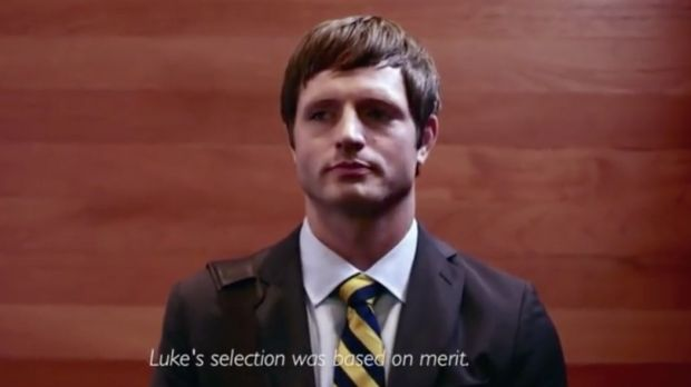 A still from parody YouTube video 'Luke Williams Accomplished'.