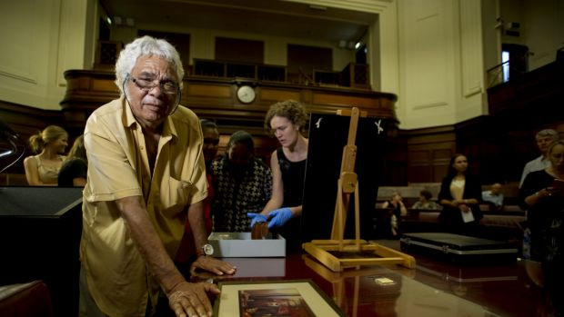Neville Bonner's son, Alfred Bonner, at the Museum of Australian Democracy at Old Parliament House.
