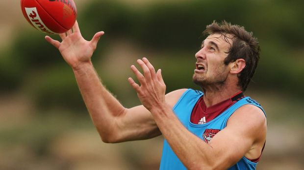 Essendon skipper Jobe Watson at training.