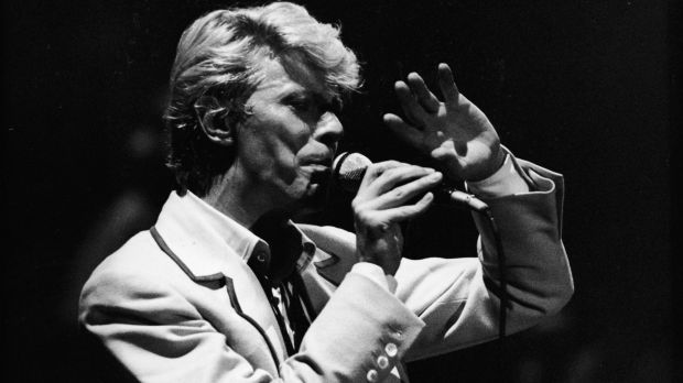 Bowie performs on stage in Brussels, Belgium in 1983.