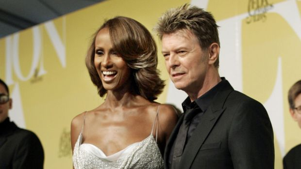 David Bowie and his wife Iman pose at the 2005 CFDA Fashion Awards in New York.