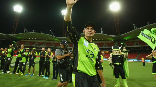 Fond farewell: Mike Hussey says goodbye after his last home game ever.