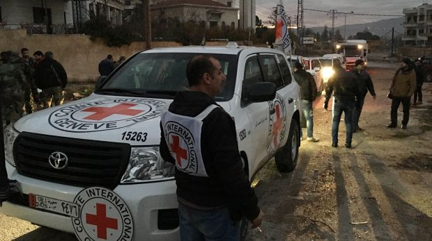 A convoy containing food, medical items, blankets and other materials reaches Madaya on Monday. The town has been ...