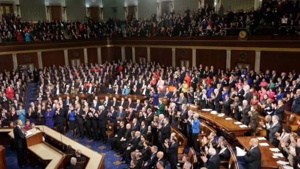 President Barack Obama gives his 2015 State of the Union on Capitol Hill in Washington. Mr Obama will deliver his final ...