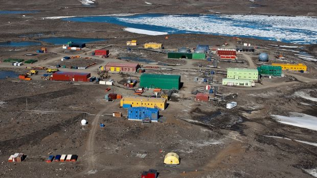 The Davis Station in Antarctica, about 90 nautical miles from the site where a helicopter pilot fell down a crevasse.