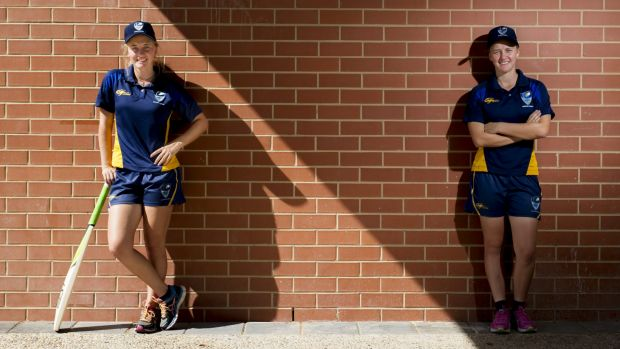 Twins Grace and Naomi McDonald are playing for the ACT under-18 girls' team at the national cricket championships in ...