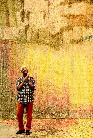 "El Anatsui with his work Garden Wall: ""You start imagining so many things that are happening behind it."""