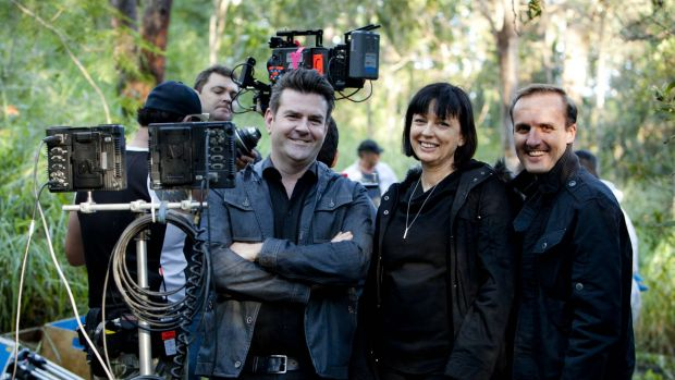 Hoodlum partners Nathan Mayfield and Tracey Robertson, and co-producer Leigh McGrath, on the set of the Australian ...