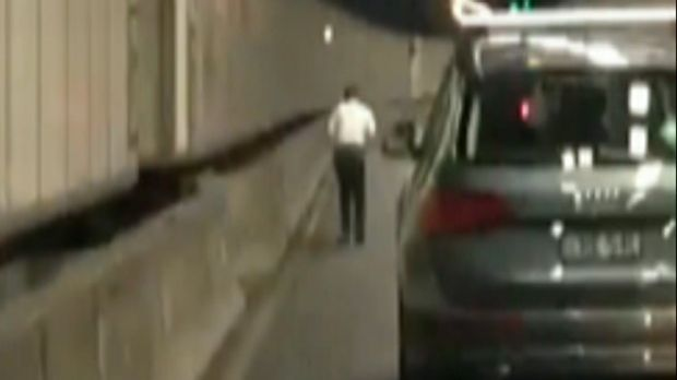 Drivers were forced to change lanes to overtake the man who occupied one of two lanes.