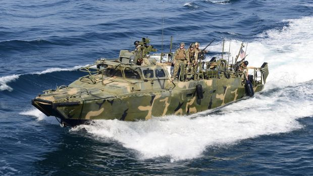 A Riverine Command Boat from Coastal Riverine Squadron in the Persian Gulf.